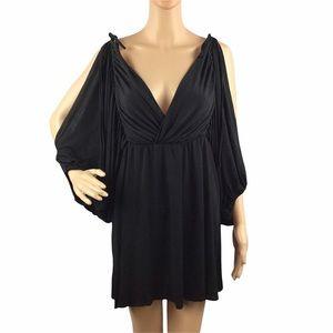Nasty Gal Mini Dress V-Neck Split Sleeves Black